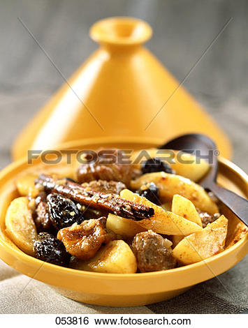 Stock Images of Lamb tajine with potatoes, dried fruit and saffron.