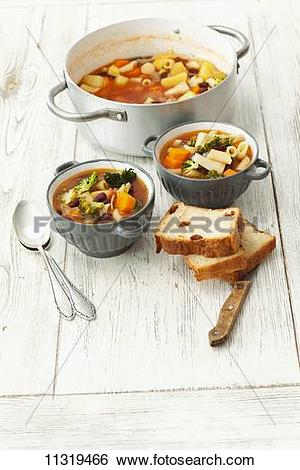 Stock Images of Vegetable soup (carrots, potatoes, broccoli and.
