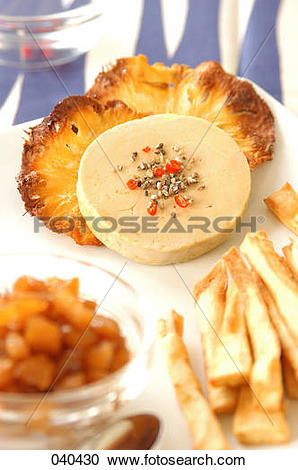 Stock Photography of goose foie gras, dried pineapple, sweet.