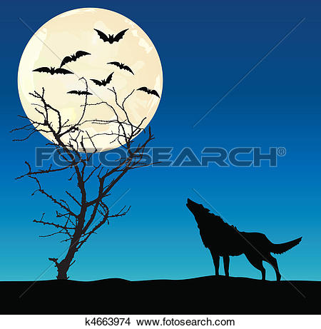 Clipart of Wolf and the dried up tree k4663974.