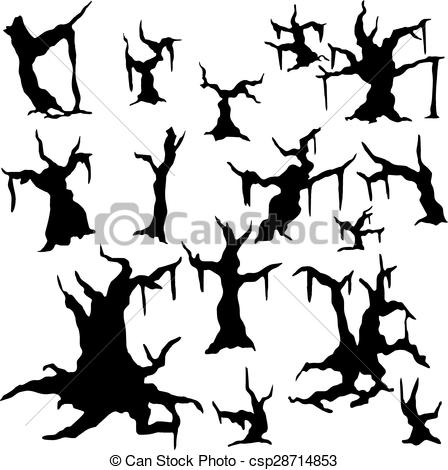Clipart Vector of Silhouettes of dried.