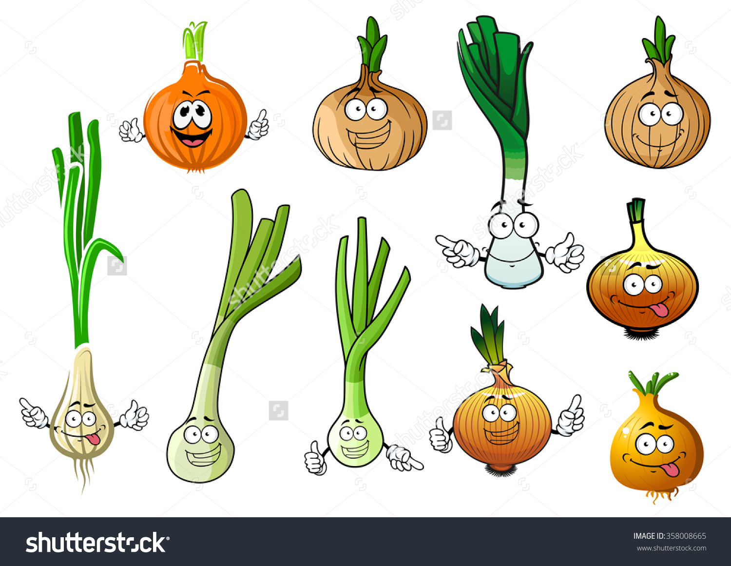 Cartoon Green Onions Fresh Juicy Leek Stock Vector 358008665.