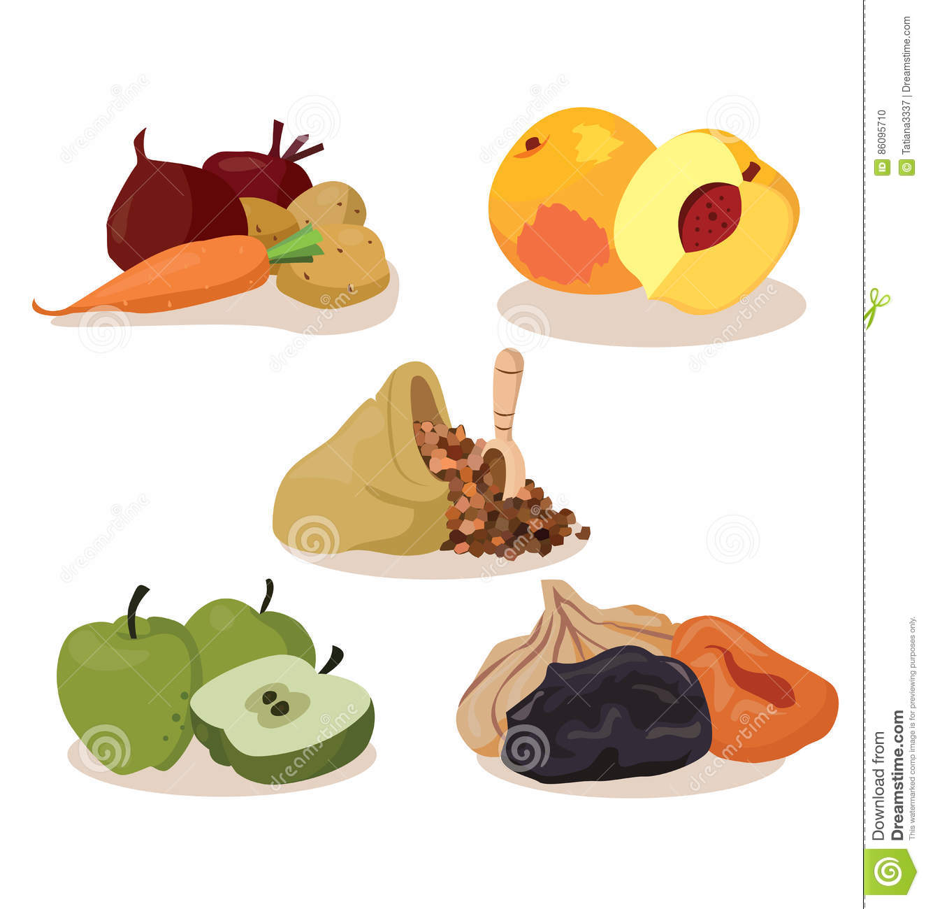 Vegetables, Peaches, Cereal, Apples, Dried Fruit Stock Vector.
