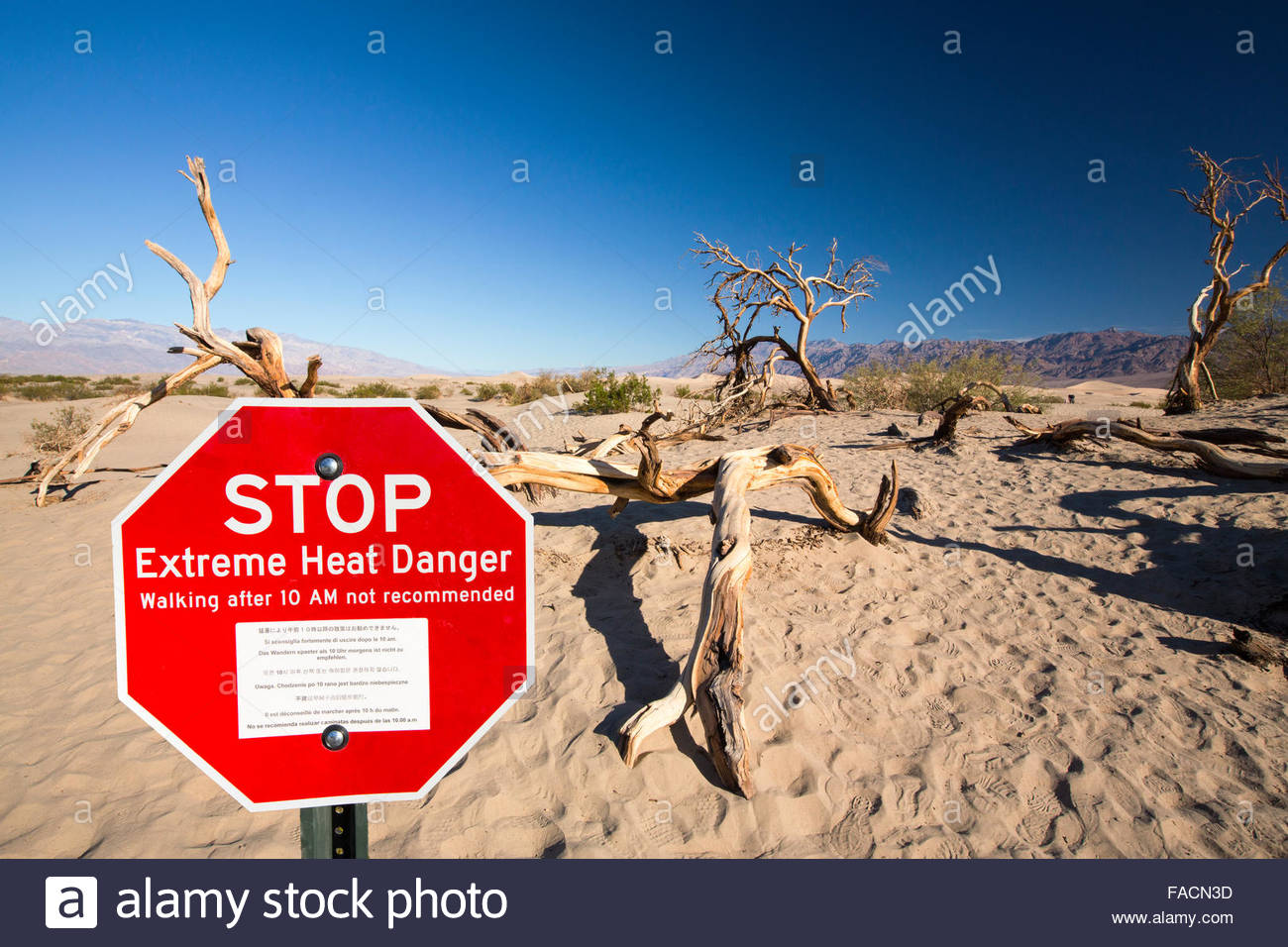 An Extreme Heat Danger Sign At Red Canyon In Death Valley Which Is.