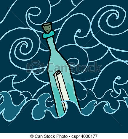 Vectors Illustration of Message in a bottle drifting the night sea.