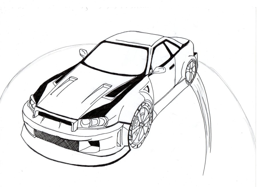 Outline Drawing Of Drift Cars.