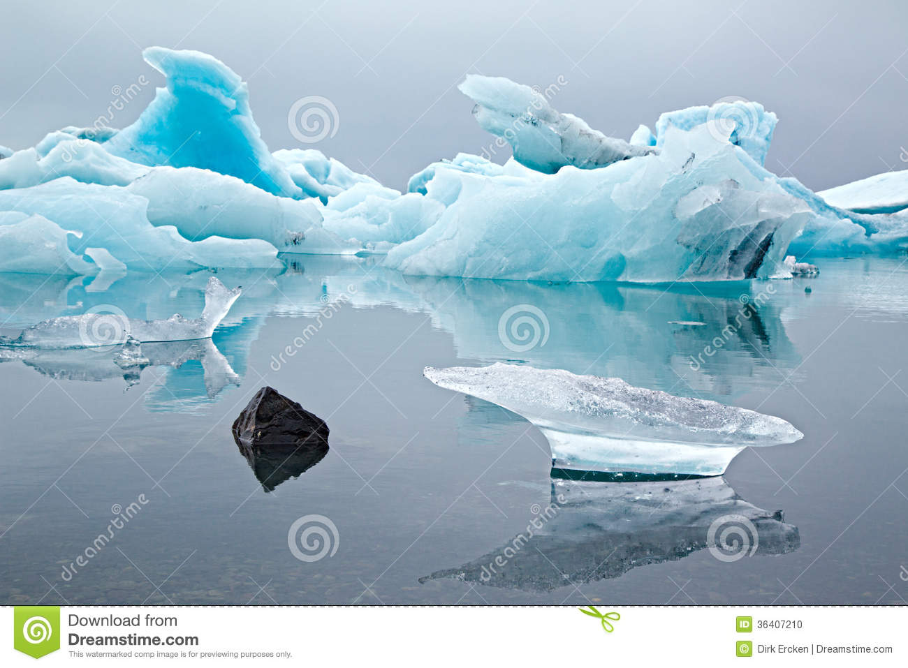 Blue Glacier Drift Pack Ice Melting Stock Photo.
