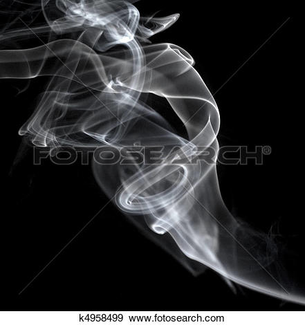 Stock Photograph of white smoke drifting up against a black.