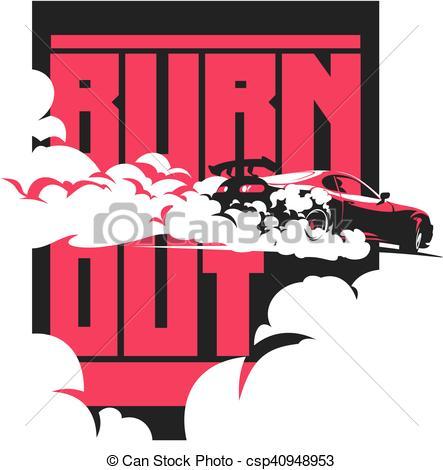 Clipart Vector of Burnout car, Japanese drift sport, Street racing.