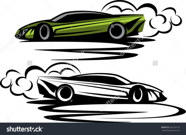 Car drifting clipart.