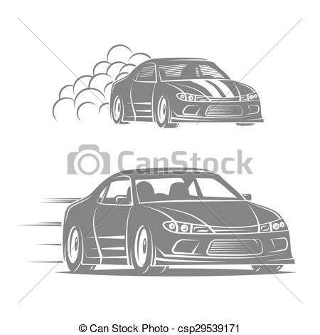 Clip Art Vector of Burnout car, Japanese drift sport, Street.