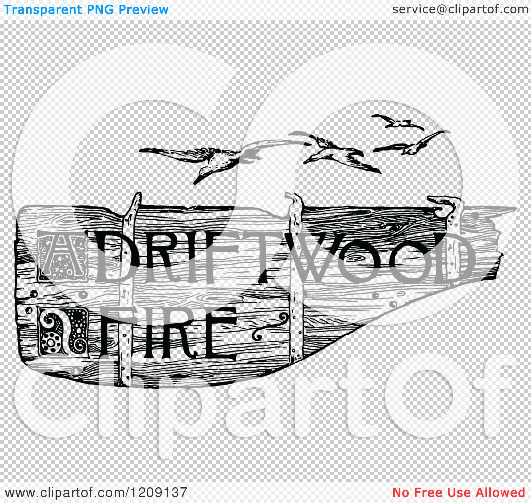 Clipart of a Vintage Black and White Driftwood Fire Sign and.