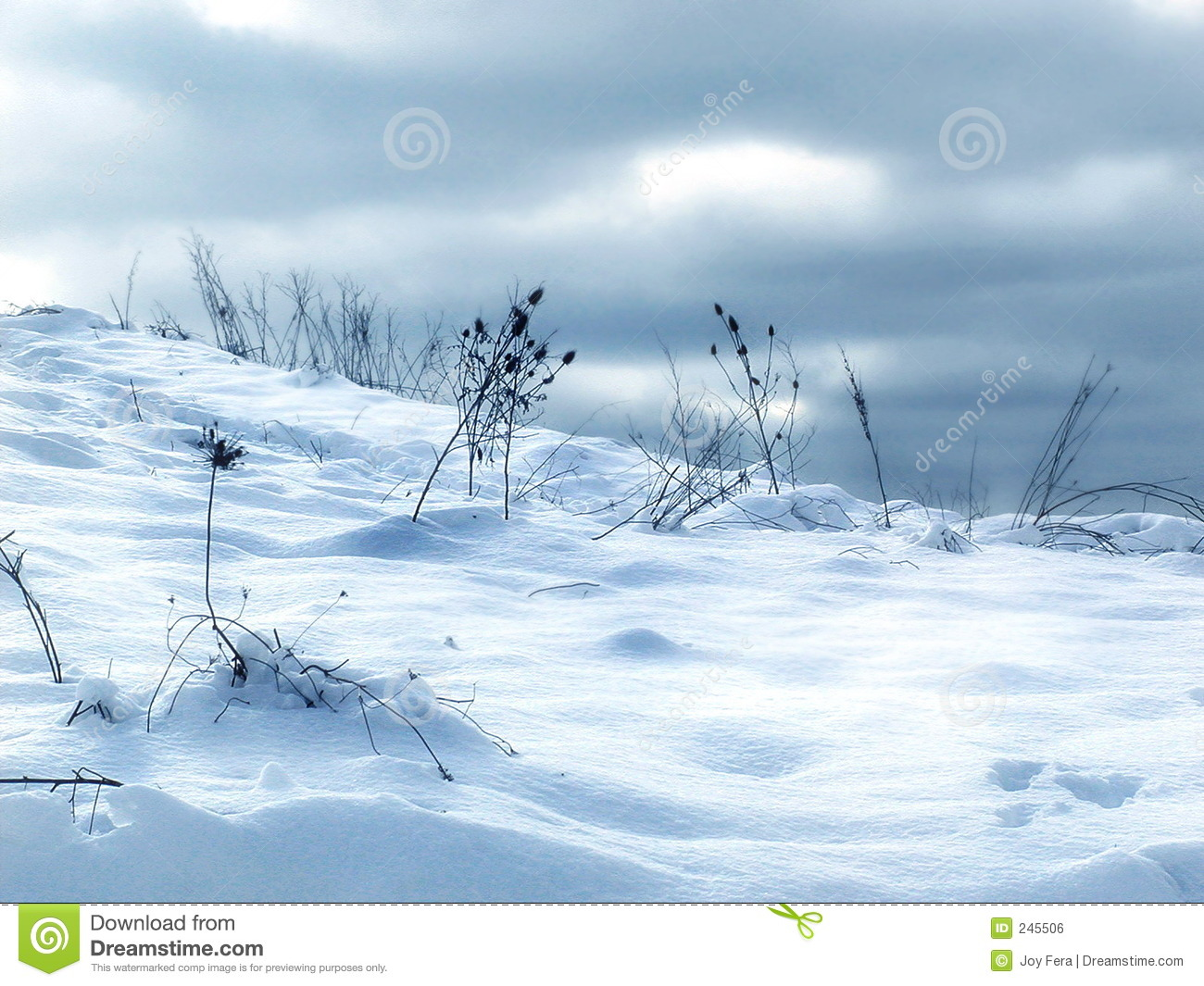 Drifts Behind Snow Fence #1 Royalty Free Stock Photo.