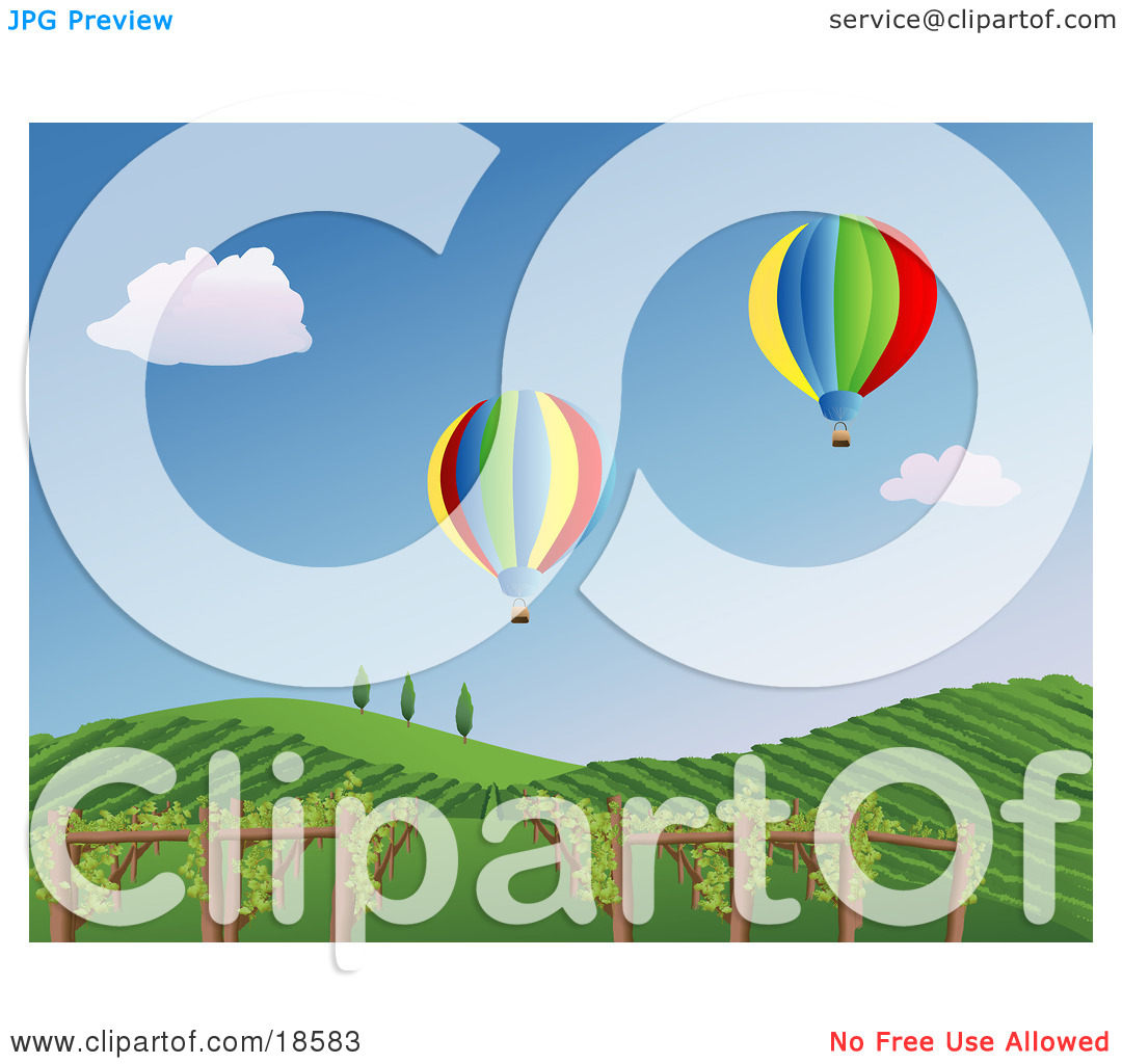 Clipart Illustration of Two Colorful Hot Air Balloons Drifting.