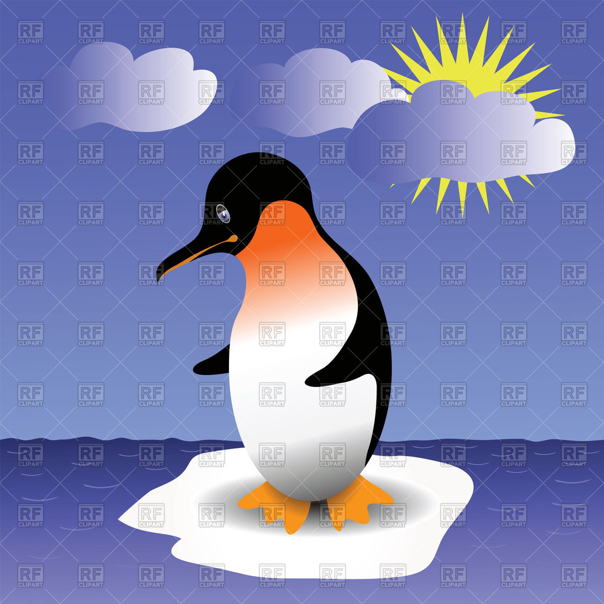 Penguin on drifting ice floe Vector Image #39203.
