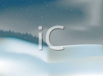 Royalty Free Clipart Image: Snow Drifts in the Woods in a Winter.