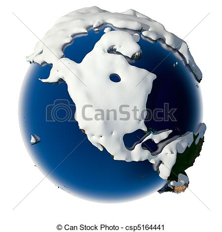 Clipart of Planet Earth is covered by snow drifts.