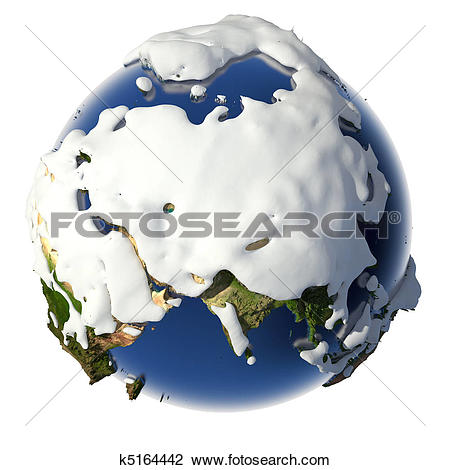 Clip Art of Planet Earth is covered by snow drifts k5164442.