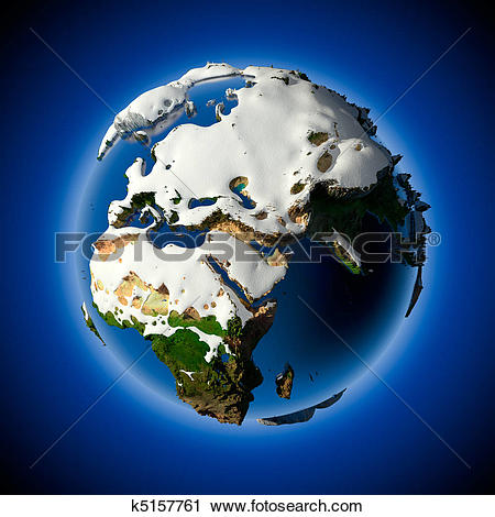 Clipart of Planet Earth is covered by snow drifts k5157761.