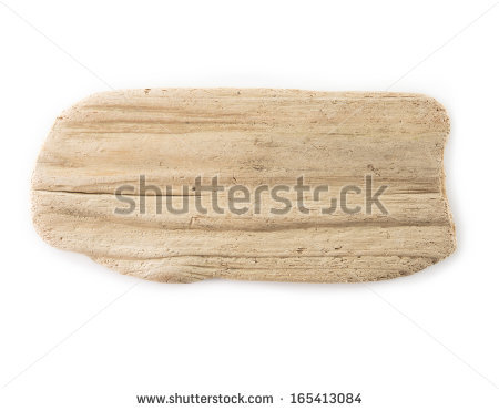 Flat Piece Of Driftwood Isolated On White. Stock Photo 165413084.