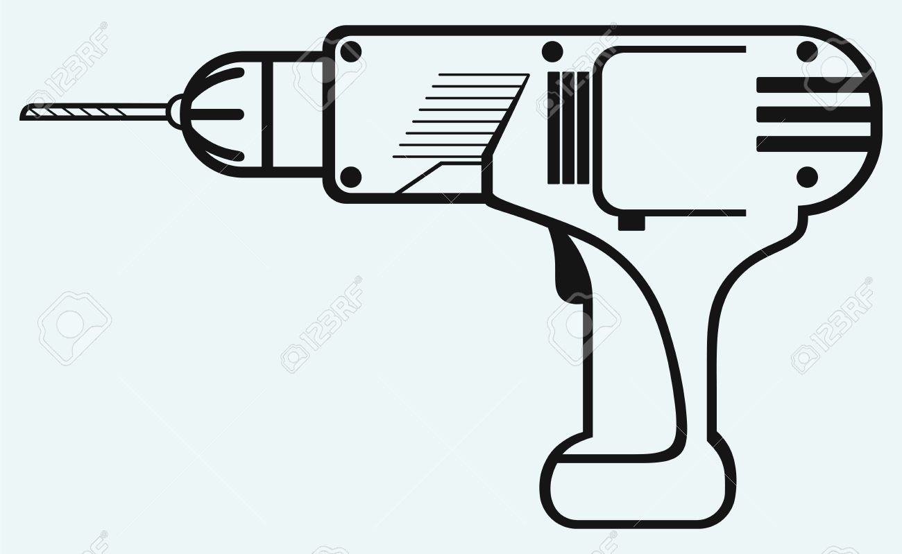 Cordless drill clipart.