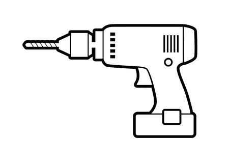 Electric cordless hand drill silhouette with bits. Clip art.