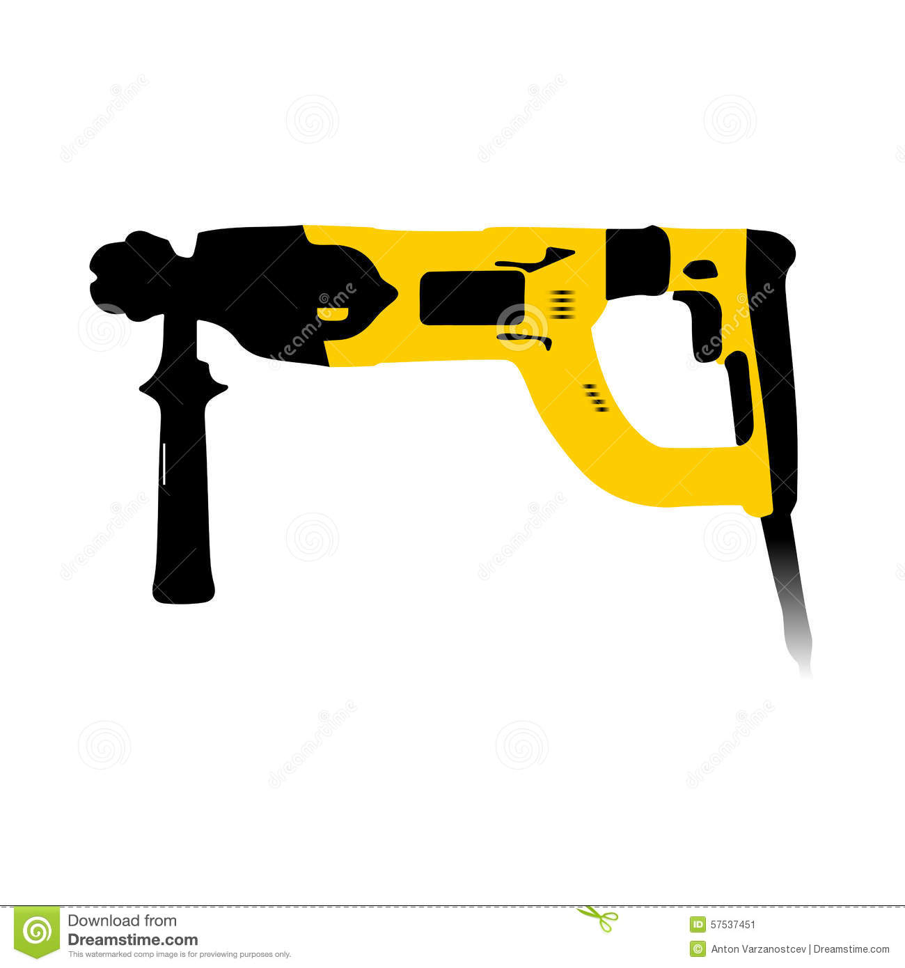 Black And Yellow Electric Hammer Stock Vector.