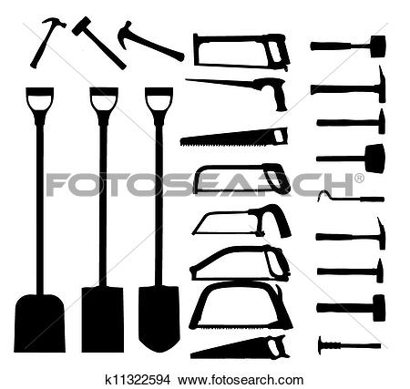 Clipart of Set of power tools, shovel, drill, hammer. Vector icon.