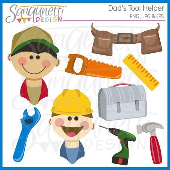 Dad's tool helper clipart comes with boys with hardhats, drill.