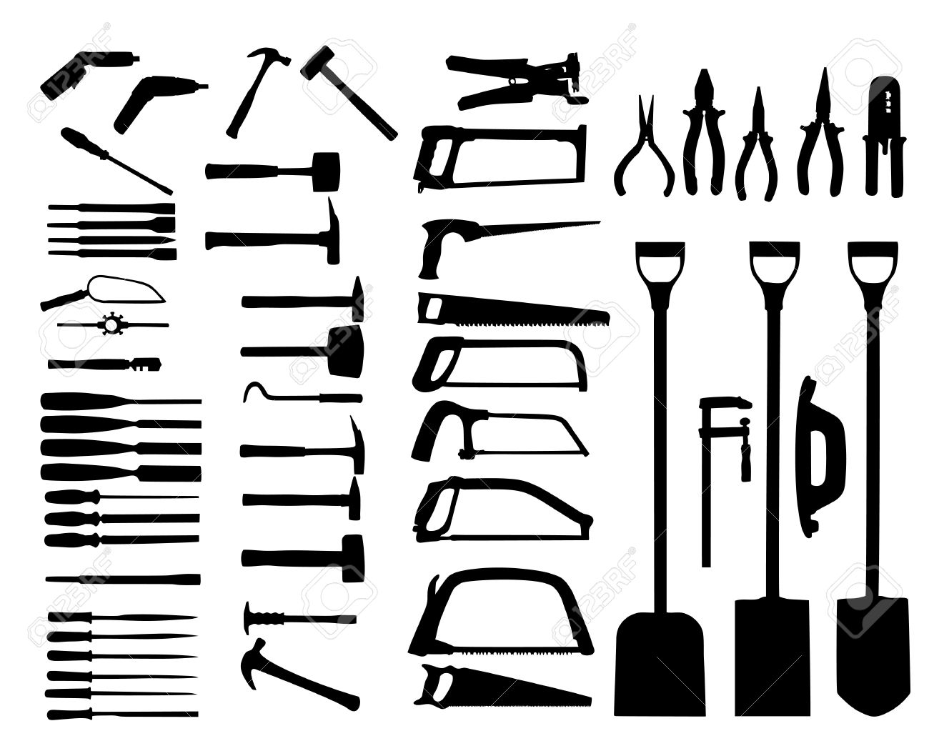 Set Of Power Tools, Shovel, Drill, Hammer. Vector Icon Royalty.