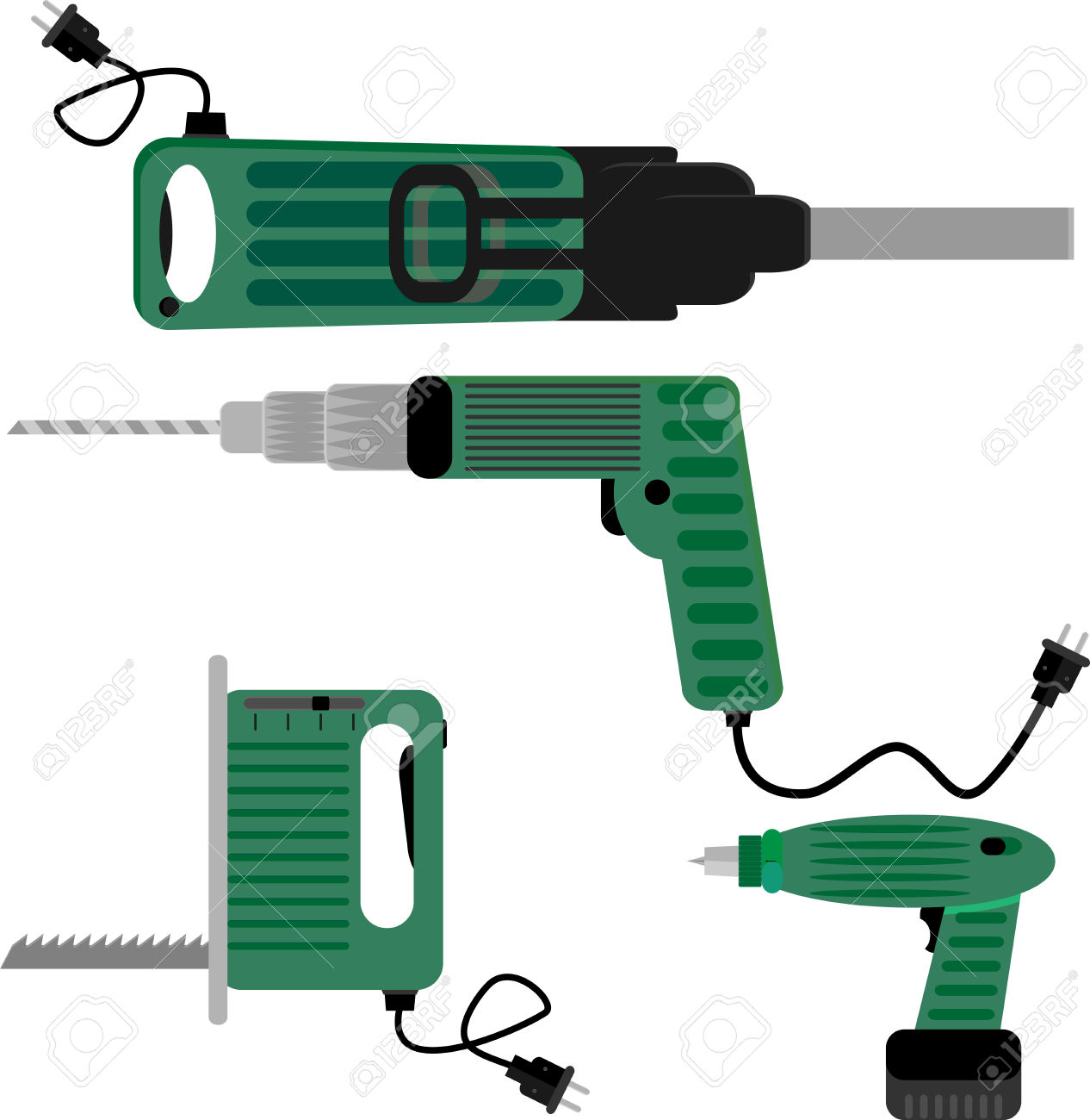 Drill Screwdriver And Hammer Jigsaw. Tool Equipment, Industry.