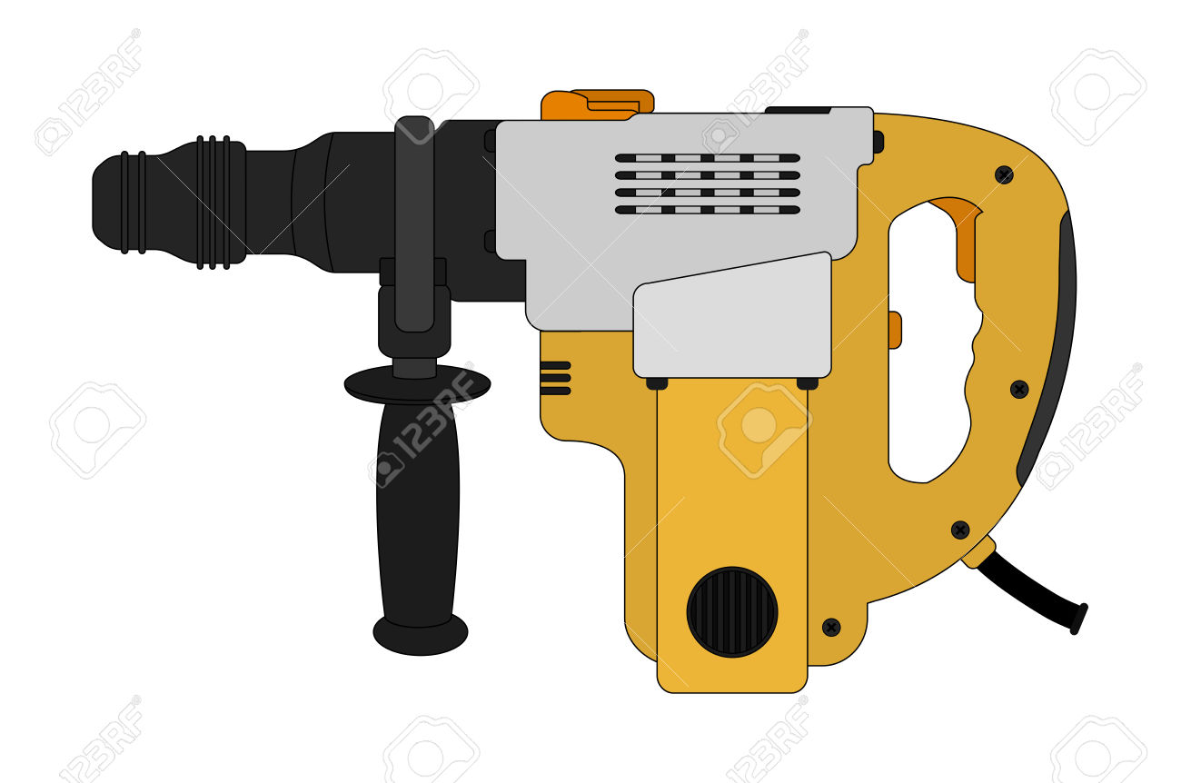 Big Electric Hammer Drill Icon In Black And Yellow Colors. Clip.