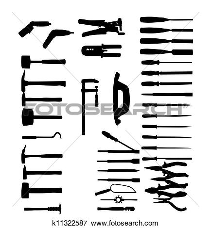 Clip Art of Set of power tools, shovel, drill, hammer. Vector icon.