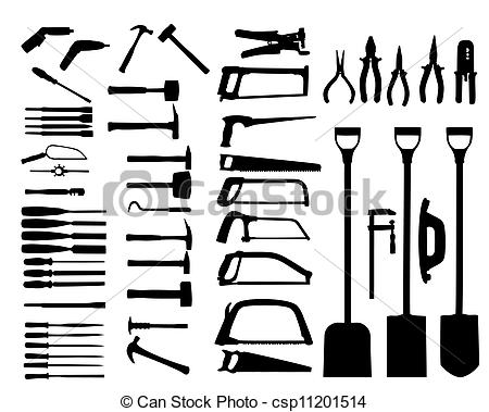 Vector Clip Art of Set of power tools, shovel, drill, hammer.