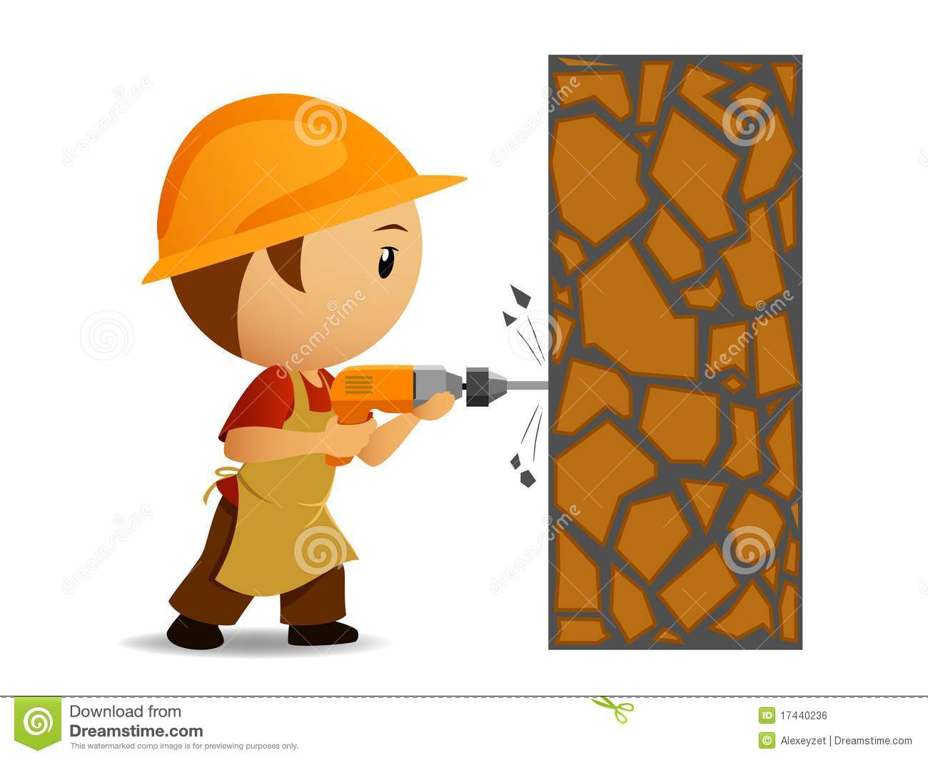 Cartoon Workmen With Drill Make Holes In The Wall Royalty Free.