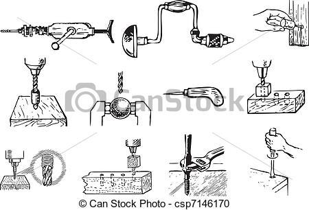 Vector Clipart of Locksmith work.
