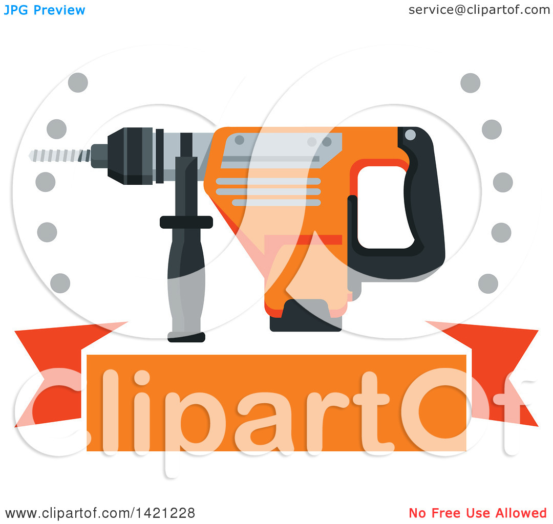 Clipart of a Rotary Hammer Drill with Holes over a Blank Orange.