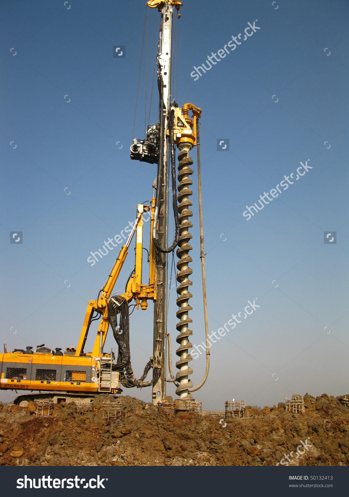 Machine Drilling Holes Ground Stock Photo 50132413.