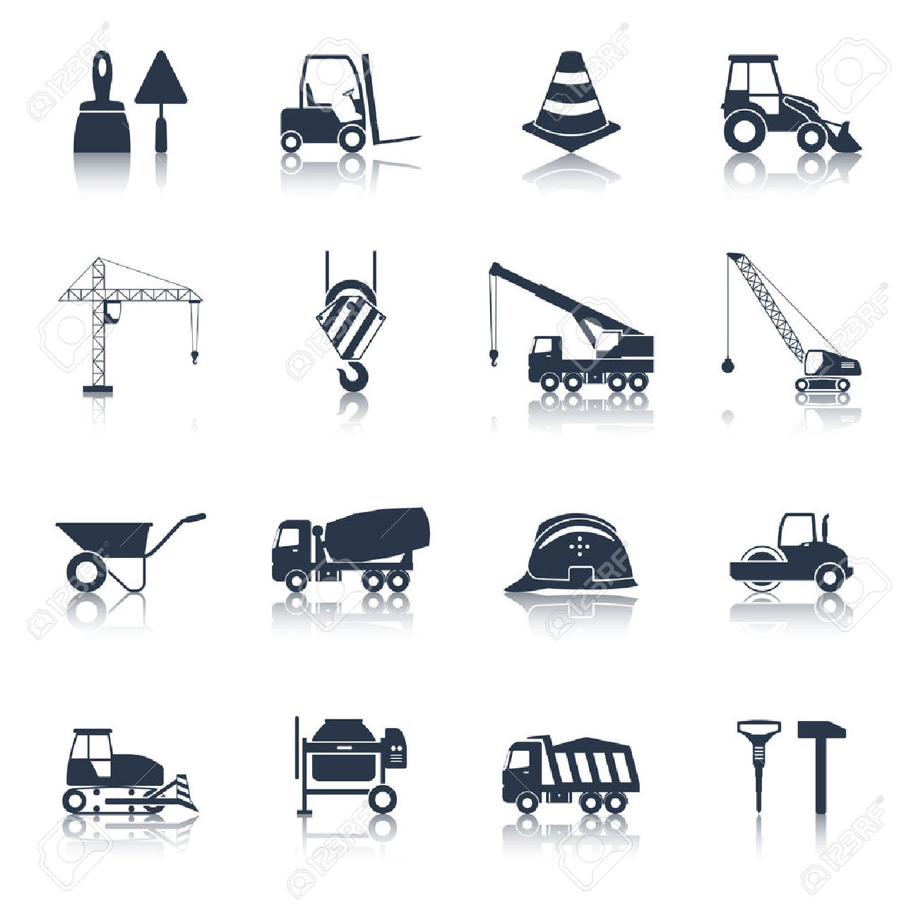 Construction Icons Black Set With Hammer Crane Helmet Drill.