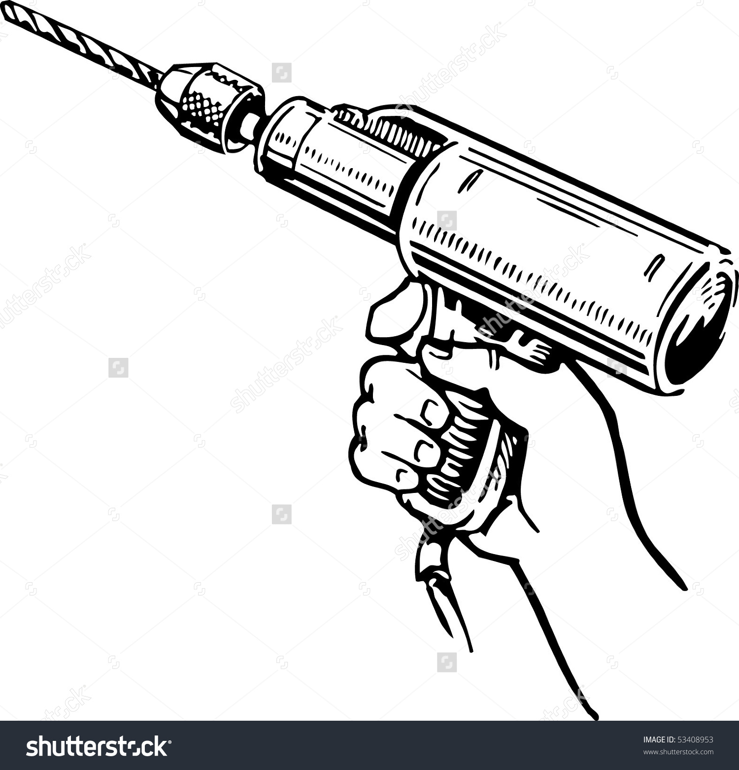 Worker Holding Electric Hand Drill Stock Vector 53408953.
