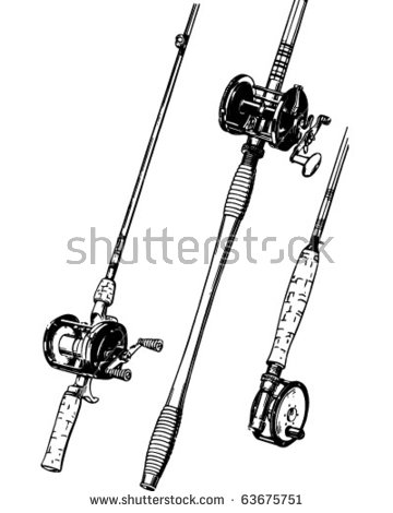 Group Fishing Rods Retro Clipart Illustration Stock Vector.