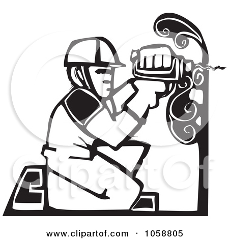 Clipart of a Woodcut Oil Rig and Drilling for Blood in a Heart.