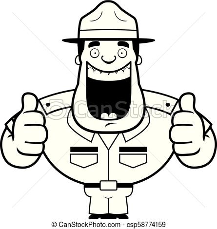 Cartoon Drill Sergeant Thumbs Up.