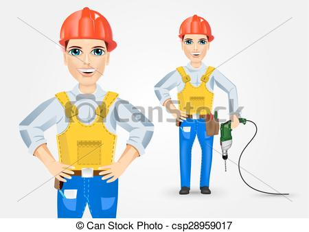 Vector Clip Art of electrician holding electric drill down.