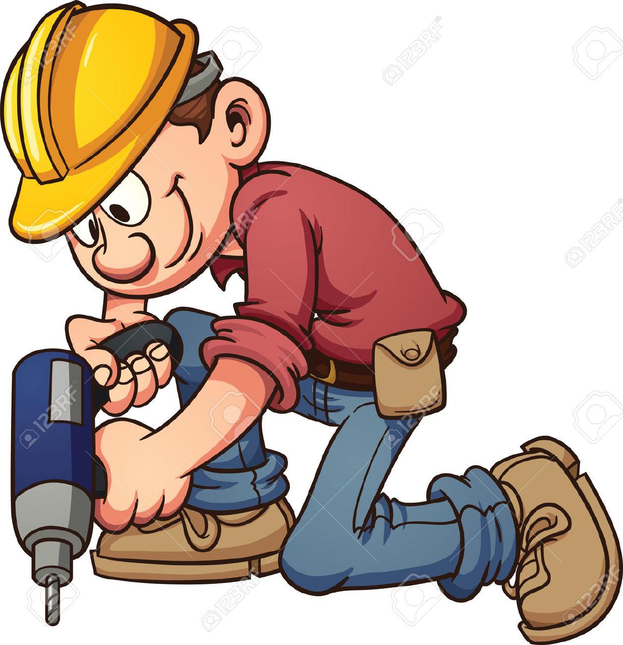 Cartoon Construction Worker Drilling A Hole Vector Clip Art.