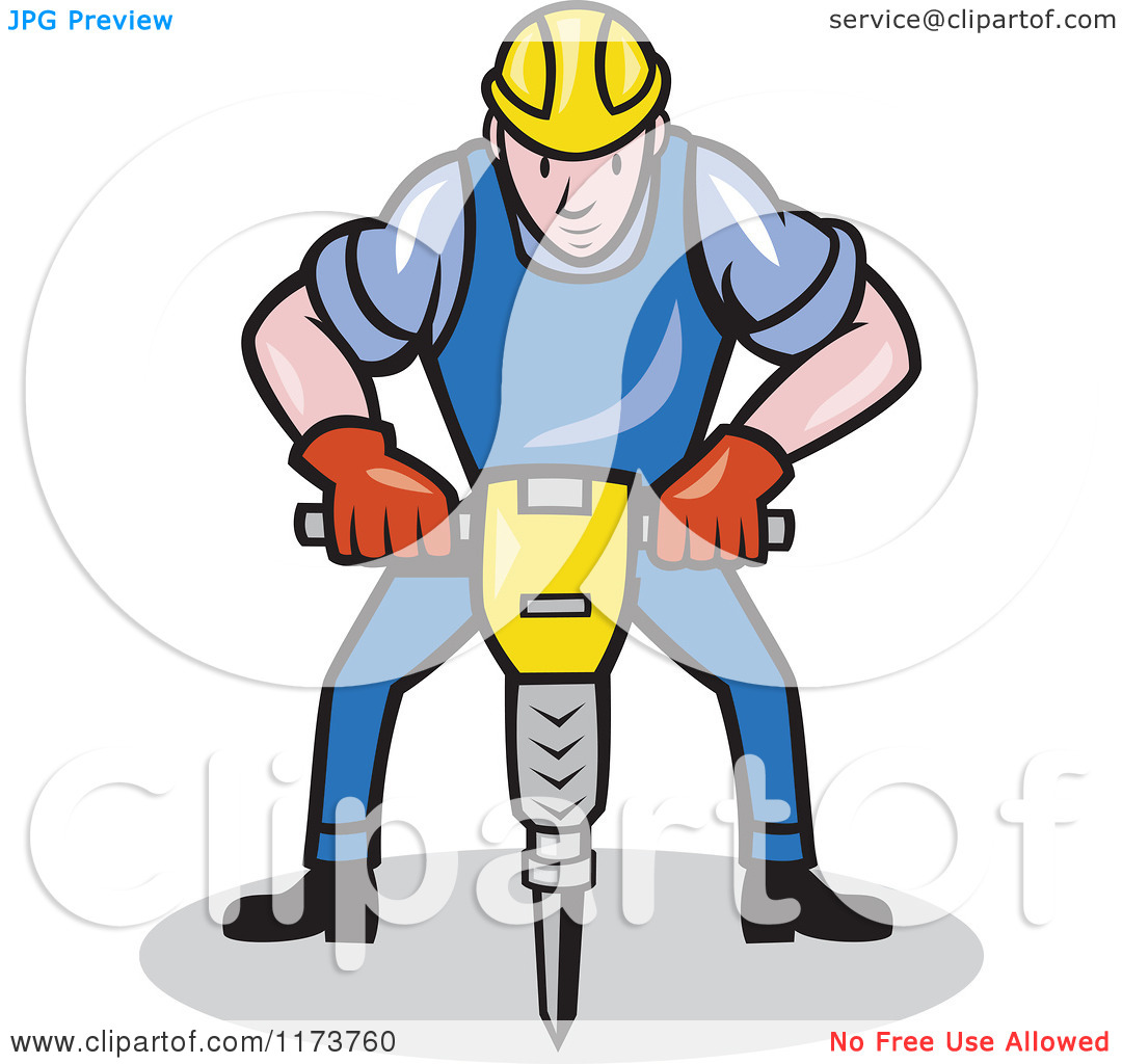 Clipart of a Cartoon Construction Worker Operating a Jack Hammer.