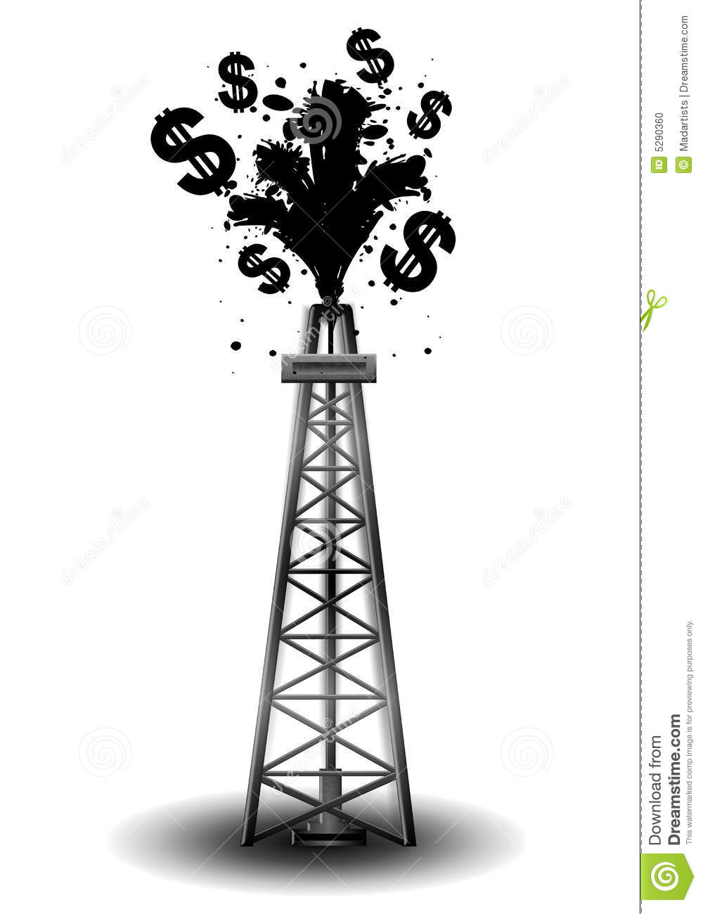 Oil Drilling Rig With Black Money Stock Photo.