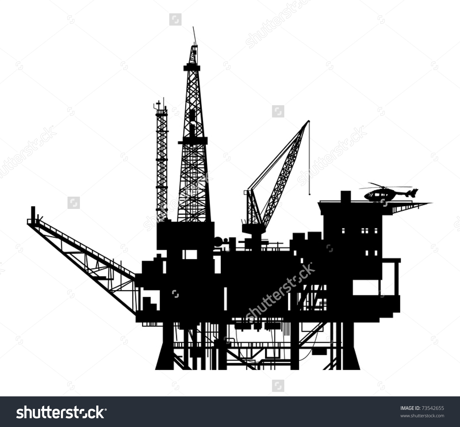 Oil drilling rig clipart.