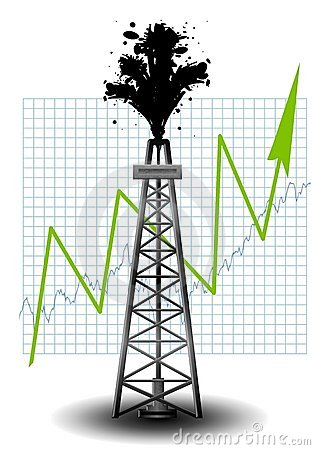 Oil Drilling Rig Earth With Money Stock Photos.