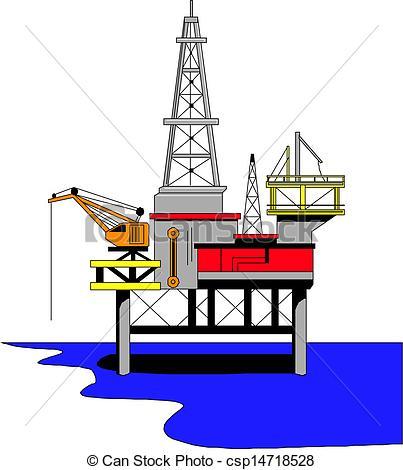 Vector Illustration of Oil drilling rig, vector illustration.